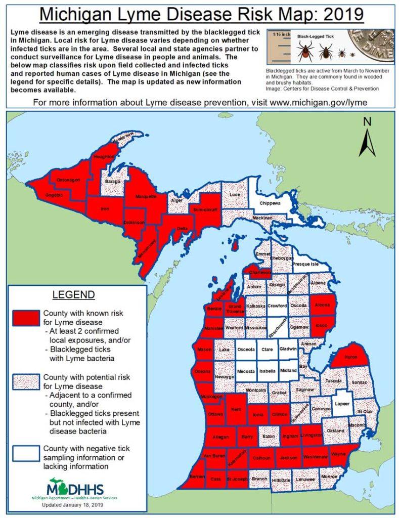 Ticks in Michigan map